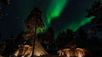 Aurora-Jagd mit Schneeschuhen